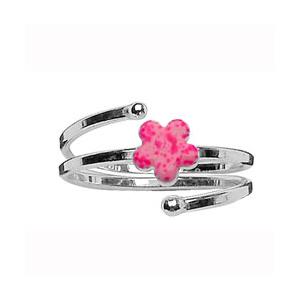 Bague pour enfant en spirale réglable en argent avec fleur rose