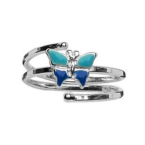 Bague pour enfant en spirale réglable en argent avec papillon bleus
