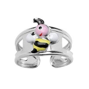 Bague pour enfant réglable en argent rhodié avec abeille