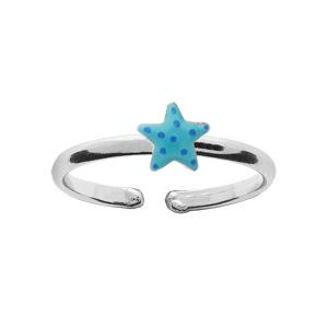 Bague pour enfant réglable en argent rhodié avec étoile de mer bleue
