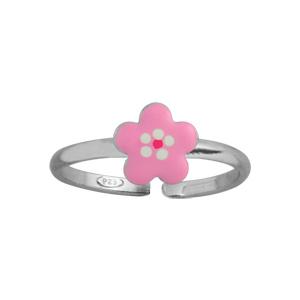 Bague pour enfant réglable en argent rhodié avec moyenne fleur rose - Vue 1