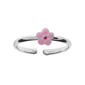 Bague pour enfant réglable en argent rhodié avec petite fleur rose pâle