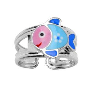 Bague pour enfant réglable en argent rhodié avec poisson bleu et rose