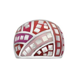 Bague Stella Mia en acier et nacre blanche véritable bombée avec motifs et dégradé de rouge et rose - Vue 1