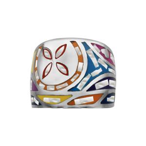 Bague Stella Mia en acier et nacre blanche véritable motif fleur et multicolore - Vue 1