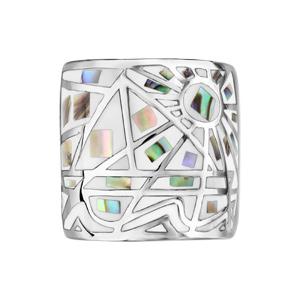 Bague Stella Mia en acier et nacre blanche véritable motifs géométriques et blanc