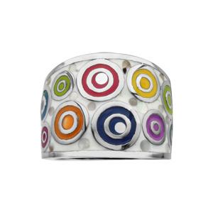 Bague Stella Mia en acier et nacre blanche véritable motifs spirales et multicolore - Vue 1