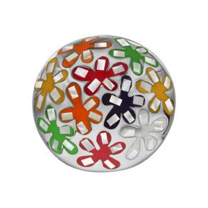 Bague Stella Mia en acier et nacre blanche véritable plateau rond bombé et motifs fleurs multicolores - Vue 1