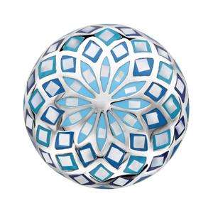 Bague Stella Mia en acier et nacre blanche véritable plateau rond bombé motif fleur et dégradé de bleu