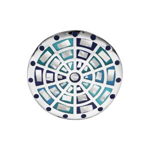 Bague Stella Mia en acier et nacre blanche véritable plateau rond motifs cible et dégradé de bleu - Vue 1