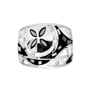 Bague Stella Mia en acier et nacre large motif fleur noir et blanc - Vue 1