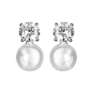 Boucles d\'oreille argent rhodié oxyde blanc serti et perle d\'eau douce diamètre 8mm - Vue 1
