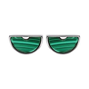 Boucles d\'oreille en acier demi lune avec pierre malachite et fermoir poussette - Vue 1
