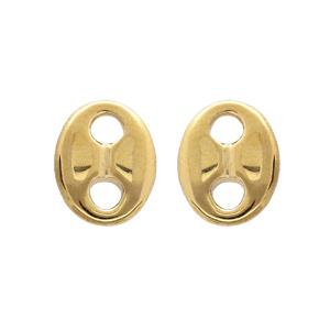 Boucles d\'oreille en acier et PVD jaune maille grain de café massive 10*8mm - Vue 1