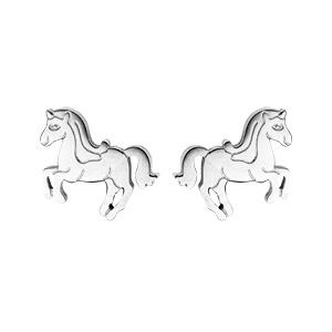 Boucles d\'oreille en acier licorne et fermoir poussette - Vue 1