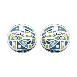 Boucles d\'oreille en acier Stella Mia ronde vert et nacre et fermoir poussette - Vue 1