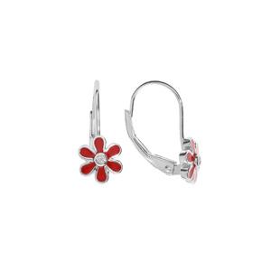 Boucles d\'oreille en argent rhodi  fleur rouge avec oxyde blanc et fermoir dormeuse - Vue 1