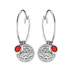 Boucles d\'oreille en argent rhodié anneau avec pampille pierre couleur corail et pastille antique - Vue 1
