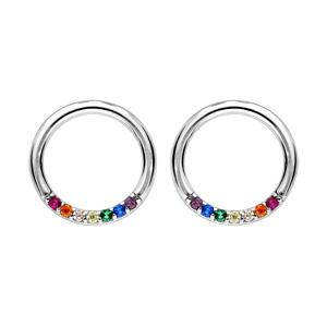 Boucles d\'oreille en argent rhodié anneau avec pierres multi couleurs et fermoir poussette - Vue 1