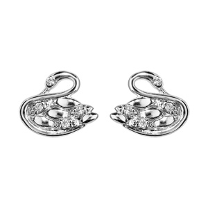 Boucles d\'oreille en argent rhodié avec cygne orné d\'oxydes blancs sertis et fermoir poussette - Vue 1