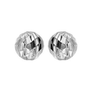 Boucles d\'oreille en argent rhodié boule diamantée 8mm et fermoir poussette - Vue 1