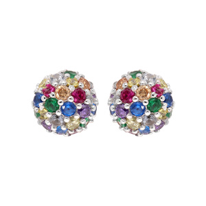 Boucles d\'oreille en argent rhodié boules pierres multi couleurs et fermoir poussette - Vue 1