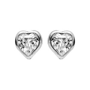 Boucles d\'oreille en argent rhodié coeur avec oxyde blancs et fermoir poussette - Vue 1