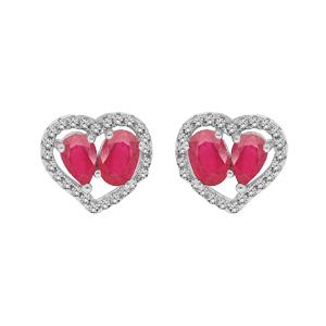 Boucles d\'oreille en argent rhodié cœur de Rubis véritables contour Topazes blanches et fermoir poussette - Vue 1