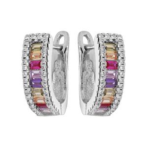 Boucles d\'oreille en argent rhodié créoles articulees empierrees multi couleurs contour oxydes blancs sertis - Vue 1