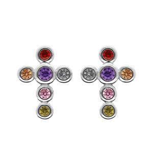 Boucles d\'oreille en argent rhodié croix décorée de pierres rondes multi couleurs ert fermoir poussette - Vue 1