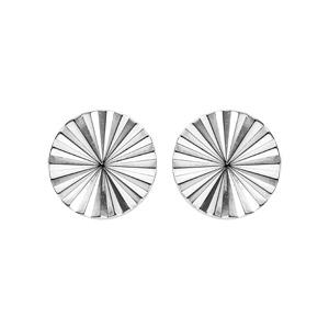Boucles d\'oreille en argent rhodié disque ethnique 8mm et  fermoir poussette - Vue 1