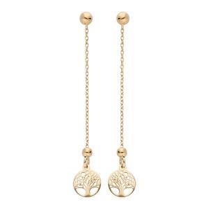 Boucles d\'oreille en argent rhodié et dorure jaune chaînette avec arbre de vie suspendu et fermoir poussette - Vue 1