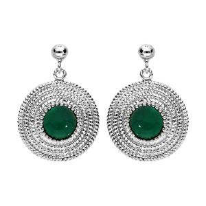 Boucles d\'oreille en argent rhodié ethnique ronde avec pierre verte et fermoir poussette - Vue 1