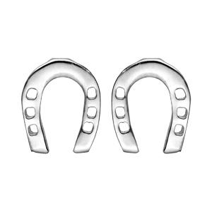 Boucles d\'oreille en argent rhodié fer à cheval et fermoir poussette - Vue 1