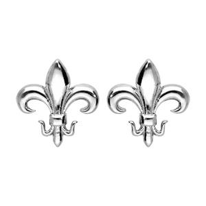 Boucles d\'oreille en argent rhodié fleur de lys et fermoir poussette - Vue 1