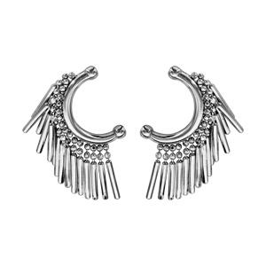 Boucles d\'oreille en argent rhodié forme un arc avec baguettes suspendues et fermoir poussette - Vue 1