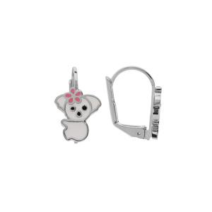 Boucles d\'oreille en argent rhodié koala blanc et fermoir dormeuse - Vue 1