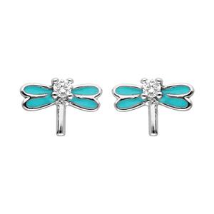 Boucles d\'oreille en argent rhodié libellule turquoise et oxydes blancs sertis et fermoir poussette - Vue 1