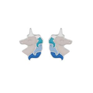 Boucles d\'oreille en argent rhodié licorne blanche et bleue et fermoir poussette - Vue 1