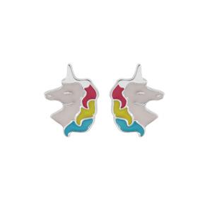 Boucles d\'oreille en argent rhodié licorne blanche et multicouleur et fermoir poussette - Vue 1