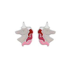 Boucles d\'oreille en argent rhodié licorne blanche et rose et fermoir poussette - Vue 1