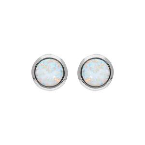 Boucles d\'oreille en argent rhodié opale blanche ronde véritable etr fermoir poussette - Vue 1