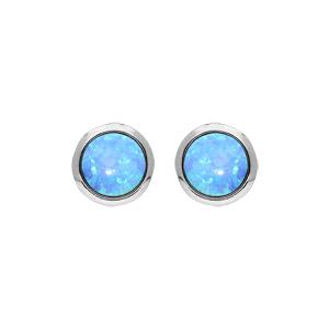 Boucles d\'oreille en argent rhodié opale bleue ronde véritable et fermoir poussette - Vue 1