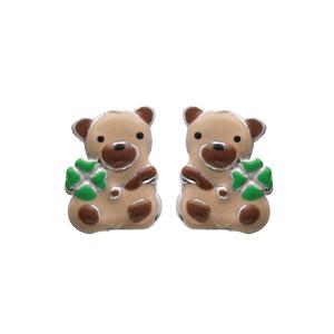 Boucles d\'oreille en argent rhodié ourson et fermoir poussette - Vue 1