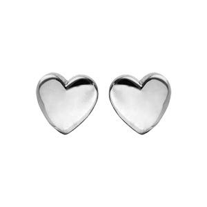 Boucles d\'oreille en argent rhodié petit cœur et fermoir poussette - Vue 1