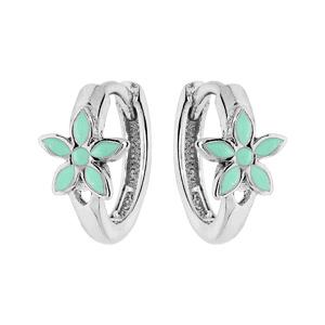 Boucles d\'oreille en argent rhodié petite créole fleur résine verte - Vue 1