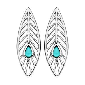 Boucles d\'oreille en argent rhodié plume avec pierre couleur turquoise et fermoir poussette - Vue 1