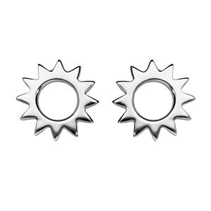 Boucles d\'oreille en argent rhodié soleil ajouré et fermoir poussette - Vue 1