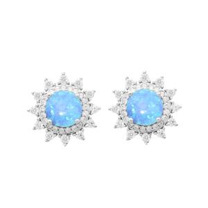 Boucles d\'oreille en argent rhodié soleil avec Opale bleue contour oxydes blancs sertis et fermoir poussette - Vue 1