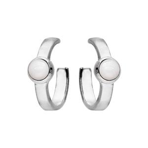 Boucles d\'oreille en argent rhodié type créoles avec Nacre blanche véritable - Vue 1